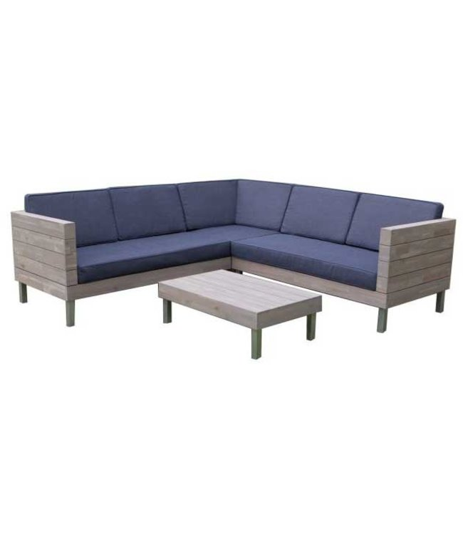 Eurofar Garden Furniture Hoek Loungeset Zeeland   Grey   Acacia Hout   Eurofar