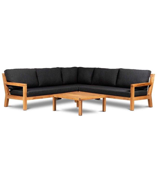 Eurofar Garden Furniture Hoek Loungeset Harby | Black | Acacia Hout | Eurofar