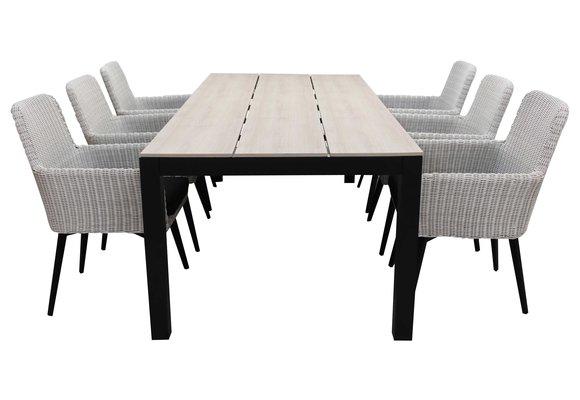 7-delige tuinset | 6 Pisa stoelen (White) | 225cm Cyprus tuintafel (Wood)