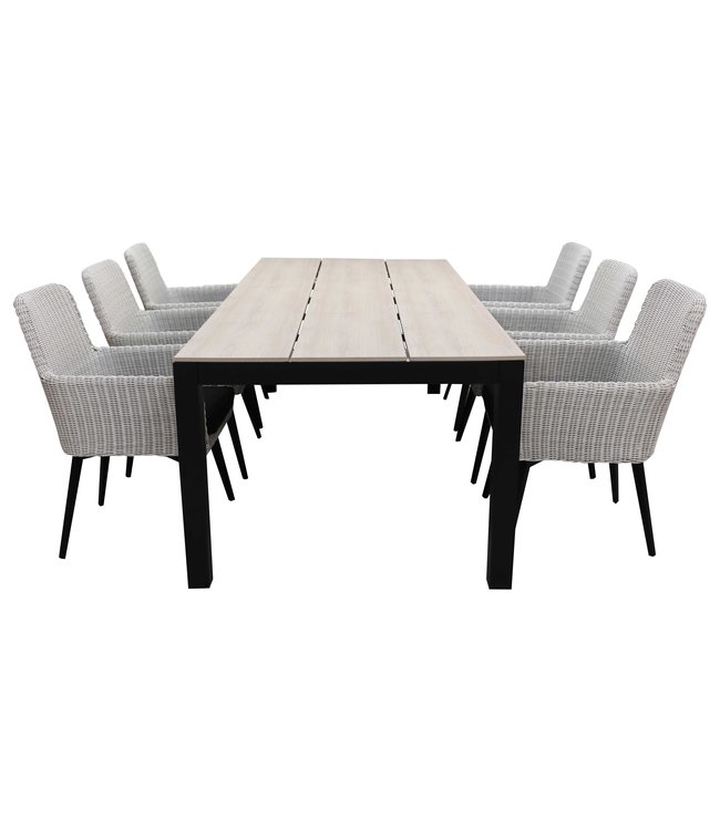 4 Seizoenen Tuinmeubelen 7-delige tuinset | 6 Pisa stoelen (White) | 225cm Cyprus tuintafel (Wood)