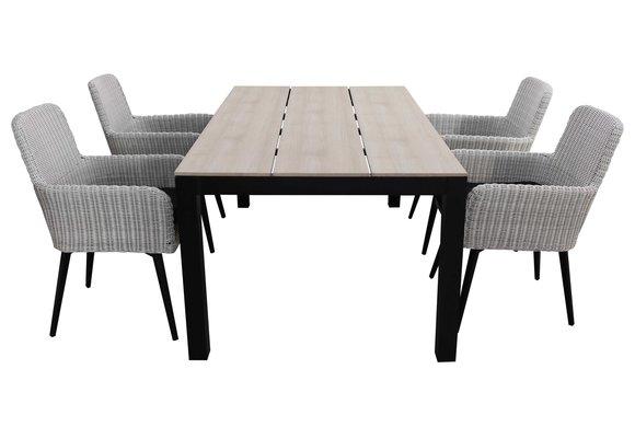 5-delige tuinset | 4 Pisa stoelen (White) | 180cm Cyprus tuintafel (Wood)