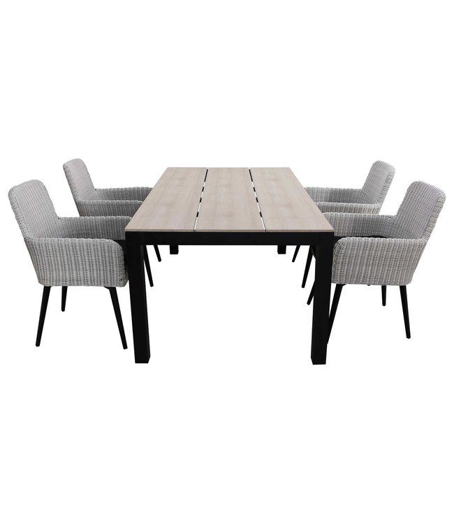 4 Seizoenen Tuinmeubelen 5-delige tuinset | 4 Pisa stoelen (White) | 180cm Cyprus tuintafel (Wood)