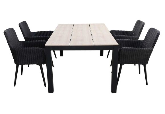 5-delige tuinset | 4 Pisa stoelen (Black) | 180cm Cyprus tuintafel (Wood)