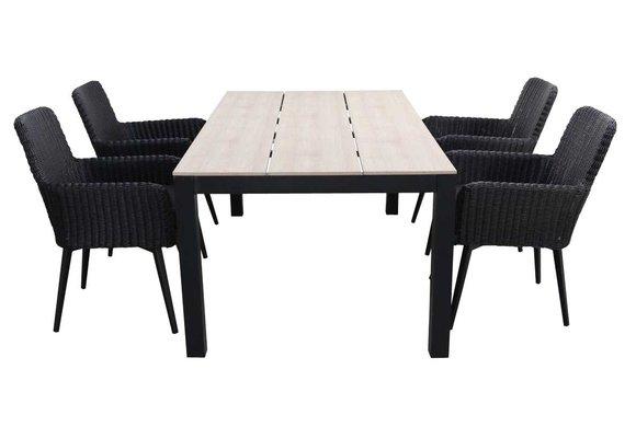 5-delige tuinset   4 Pisa stoelen (Black)   160cm Cyprus tuintafel (Wood)