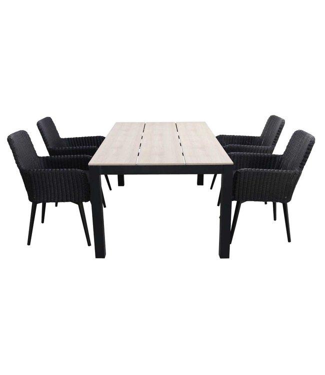 4 Seizoenen Tuinmeubelen 5-delige tuinset | 4 Pisa stoelen (Black) | 160cm Cyprus tuintafel (Wood)