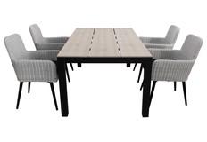 5-delige tuinset | 4 Pisa stoelen | 160cm Cyprus tuintafel