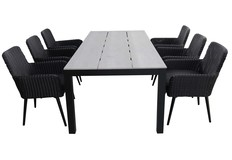 7-delige tuinset | 6 Pisa stoelen | 225cm Cyprus tuintafel