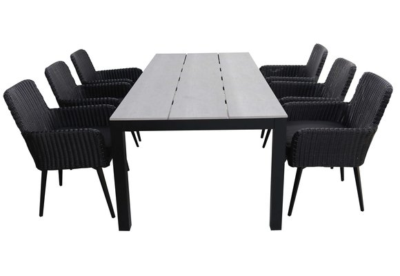 7-delige tuinset | 6 Pisa stoelen (Black) | 225cm Cyprus tuintafel (Grey)
