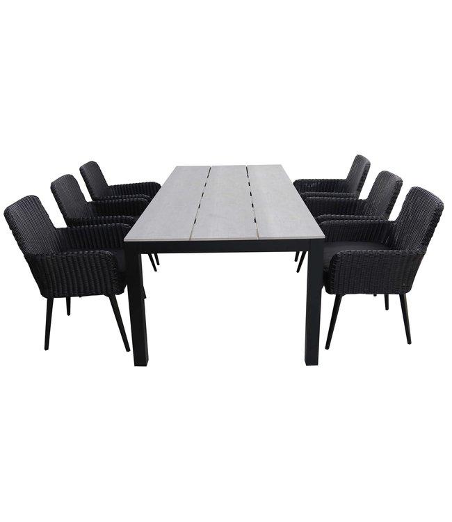 4 Seizoenen Tuinmeubelen 7-delige tuinset | 6 Pisa stoelen (Black) | 225cm Cyprus tuintafel (Grey)