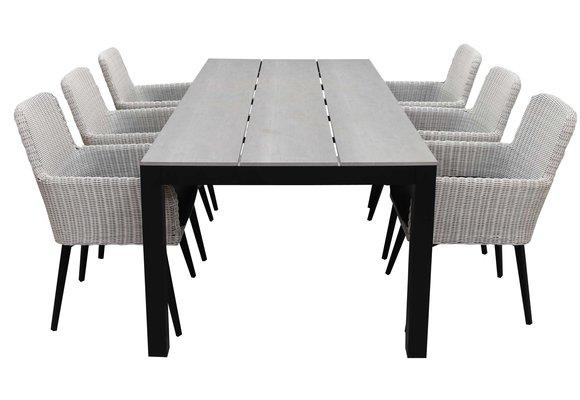 7-delige tuinset | 6 Pisa stoelen (White) | 225cm Cyprus tuintafel (Grey)