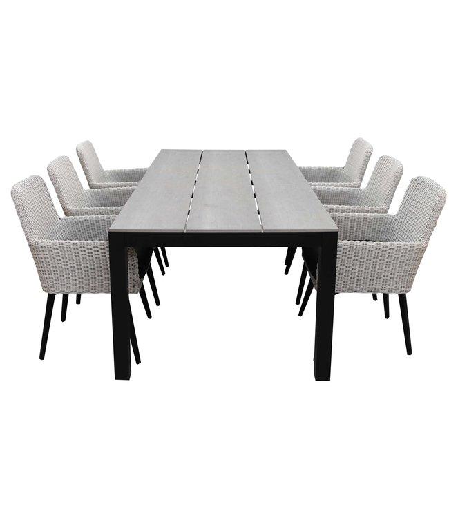 4 Seizoenen Tuinmeubelen 7-delige tuinset | 6 Pisa stoelen (White) | 225cm tuintafel