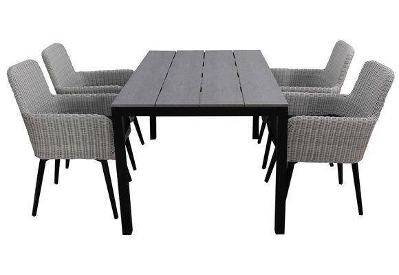 5-delige tuinset | 4 Pisa stoelen (White) | 180cm Cyprus tuintafel (Grey)