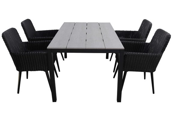5-delige tuinset   4 Pisa stoelen (Black)   180cm Cyprus tuintafel (Grey)