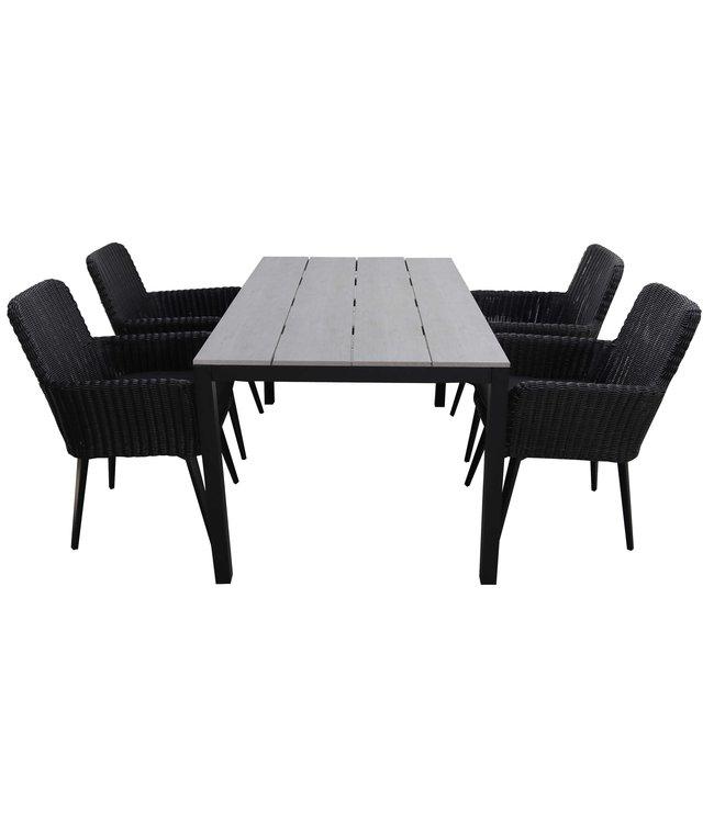 4 Seizoenen Tuinmeubelen 5-delige tuinset | 4 Pisa stoelen (Black) | 180cm Cyprus tuintafel (Grey)