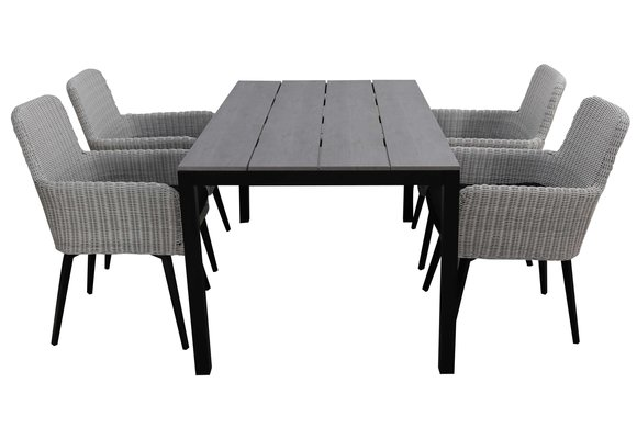5-delige tuinset | 4 Pisa stoelen (White) | 160cm Cyprus tuintafel (Grey)