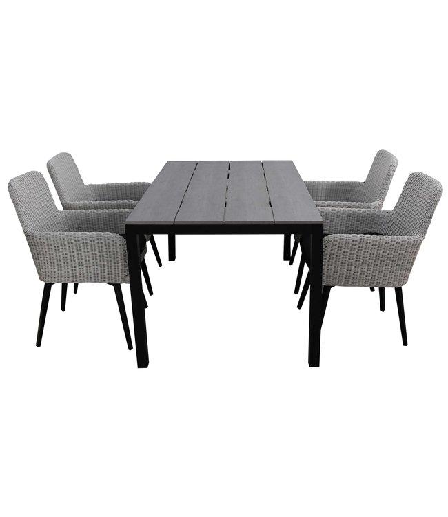 4 Seizoenen Tuinmeubelen 5-delige tuinset | 4 Pisa stoelen (White) | 160cm Cyprus tuintafel (Grey)
