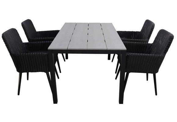 5-delige tuinset | 4 Pisa stoelen (Black) | 160cm Cyprus tuintafel (Grey)