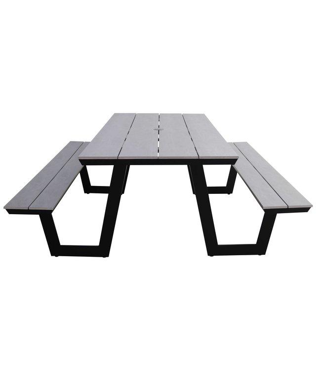 4 Seizoenen Tuinmeubelen Picknicktafel Coffee Bay | Grey | Aluminium & Polywood