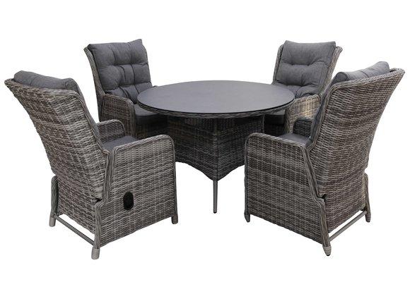 5-delige ronde tuinset | 4 Dublin verstelbare stoelen | ⌀120cm tuintafel (AG)
