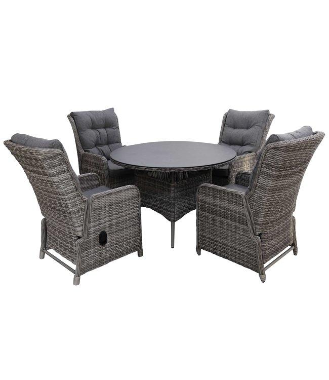 4 Seizoenen Tuinmeubelen 5-delige tuinset | 4 Dublin verstelbare stoelen | 120cm ronde keramieken tuintafel (Ash Grey)