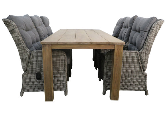 7-delige tuinset | 6 Dublin verstelbare stoelen (AG) | 240cm Ayra tuintafel (Teak)