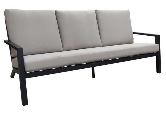 Loungebank Bezano   3-persoons   Matt Black/Off White   Aluminium