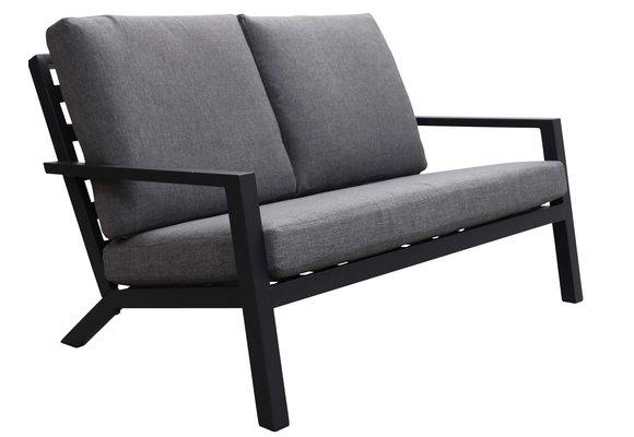 Loungebank Bezano | 2-persoons | Matt Black/Grey | Aluminium