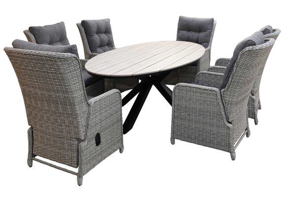 7-delige tuinset | 6 Dublin verstelbare stoelen (MG) | 220cm ovale Cyprus tuintafel (Wood)