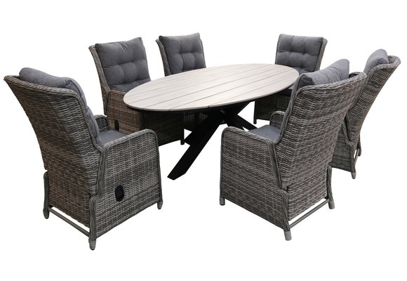 7-delige tuinset | 6 Dublin verstelbare stoelen (AG) | 220cm ovale Cyprus tuintafel (Wood)
