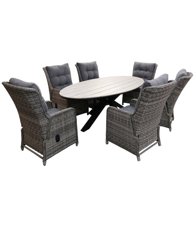 4 Seizoenen Tuinmeubelen 7-delige tuinset | 6 Dublin verstelbare stoelen (AG) | 220cm ovale Cyprus tuintafel (Wood)