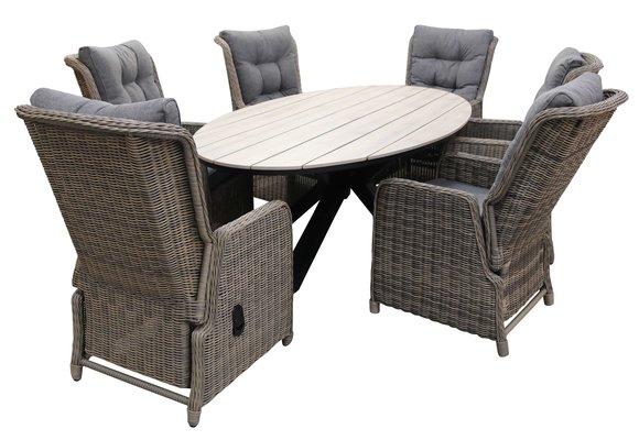 7-delige tuinset | 6 Dublin verstelbare stoelen (SW) | 220cm ovale Cyprus tuintafel (Wood)