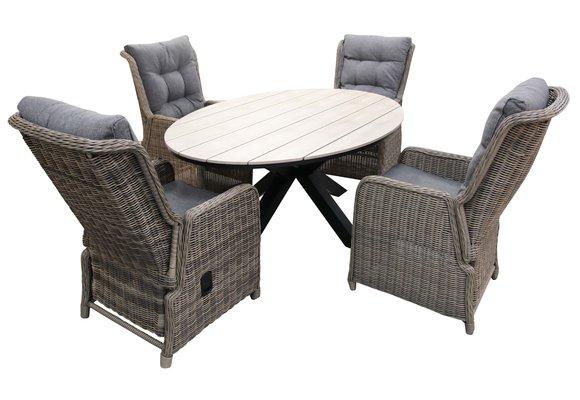 5-delige tuinset | 4 Dublin verstelbare stoelen (SW) | 180cm ovale Cyprus tuintafel (Wood)