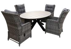 5-delige tuinset | 4 Dublin verstelbare stoelen | 180cm ovale Cyprus tuintafel
