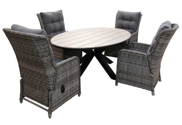5-delige tuinset | 4 Dublin verstelbare stoelen (AG) | 180cm ovale Cyprus tuintafel (Wood)