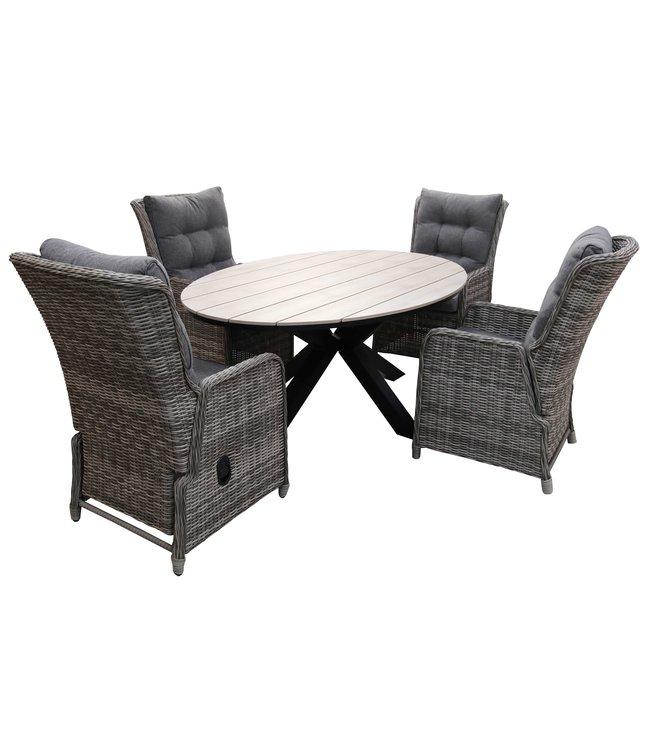 4 Seizoenen Tuinmeubelen 5-delige tuinset | 4 Dublin verstelbare stoelen (AG) | 180cm ovale Cyprus tuintafel (Wood)
