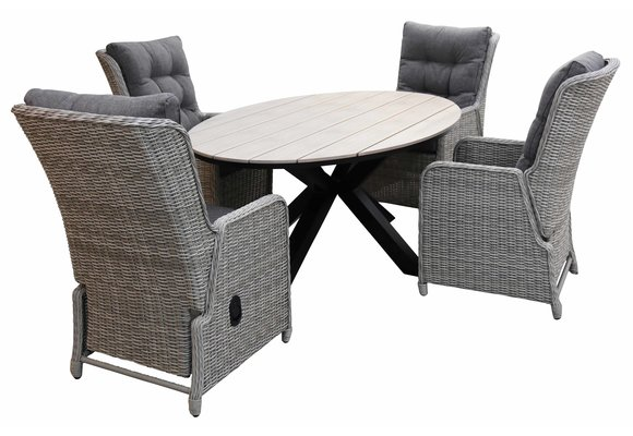 5-delige tuinset | 4 Dublin verstelbare stoelen (MG) | 180cm ovale Cyprus tuintafel (Wood)
