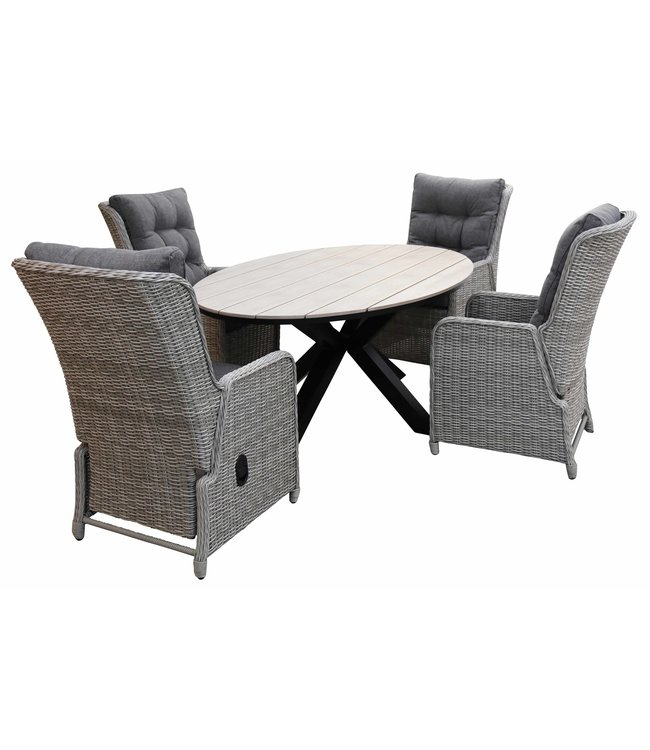 4 Seizoenen Tuinmeubelen 5-delige tuinset | 4 Dublin verstelbare stoelen (MG) | 180cm ovale Cyprus tuintafel (Wood)