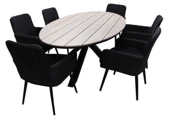 7-delige tuinset | 6 Pisa tuinstoelen (Black) | 220cm ovale Cyprus tuintafel (Wood)