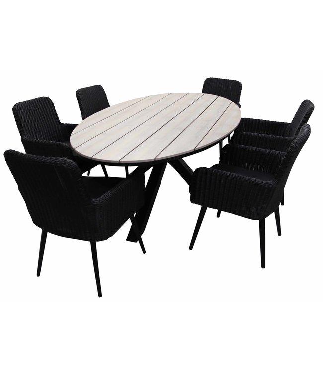 4 Seizoenen Tuinmeubelen 7-delige tuinset | 6 Pisa tuinstoelen (Black) | 220cm ovale Cyprus tuintafel (Wood)