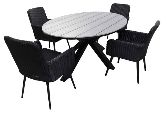 5-delige tuinset | 4 Pisa tuinstoelen (Black) | 180cm ovale Cyprus tuintafel (Grey)