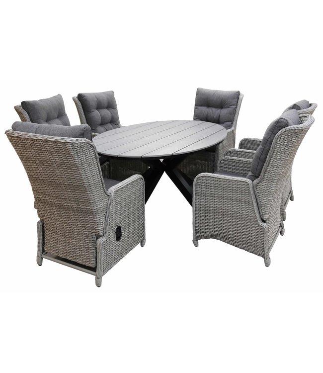 4 Seizoenen Tuinmeubelen 7-delige tuinset | 6 Dublin verstelbare stoelen (MG) | 220cm ovale Cyprus tuintafel (Grey)
