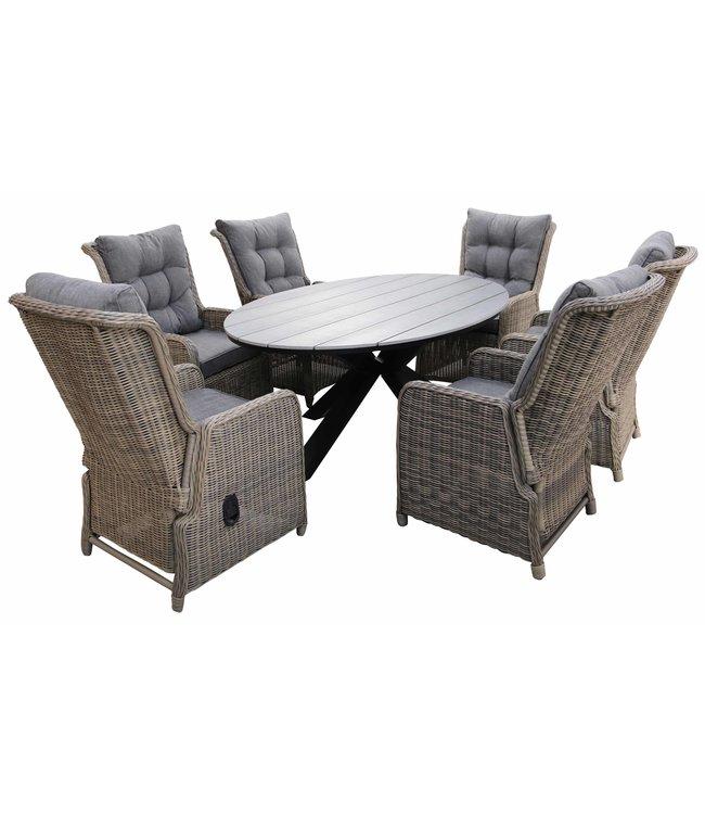4 Seizoenen Tuinmeubelen 7-delige tuinset   6 Dublin verstelbare stoelen (SW)   220cm ovale Cyprus tuintafel (Grey)