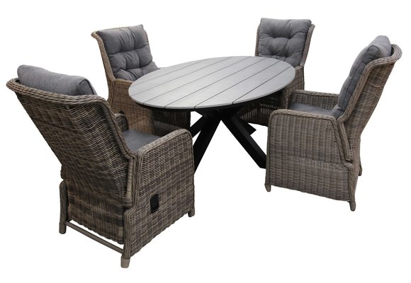 5-delige tuinset | 4 Dublin verstelbare stoelen (SW) | 180cm ovale Cyprus tuintafel (Grey)
