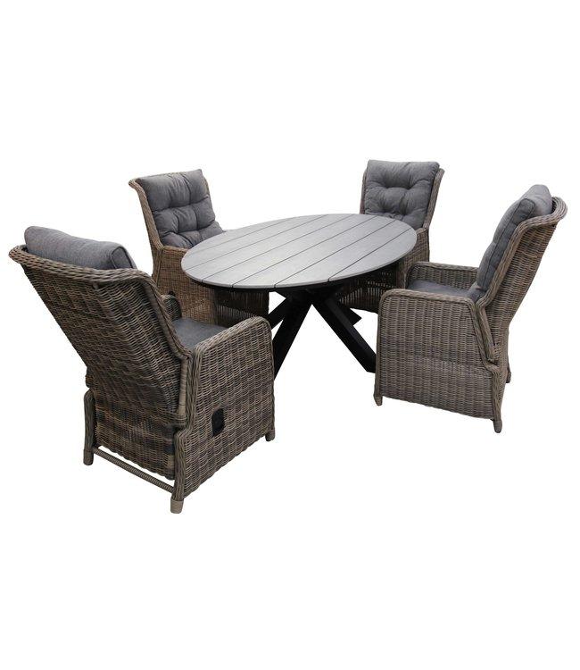 4 Seizoenen Tuinmeubelen 5-delige tuinset | 4 Dublin verstelbare stoelen (SW) | 180cm ovale Cyprus tuintafel (Grey)