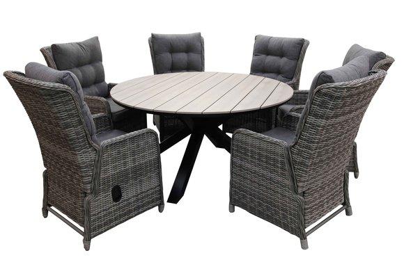 7-delige ronde tuinset | 6 Dublin verstelbare stoelen (AG) | ⌀150cm Cyprus tuintafel (Wood)