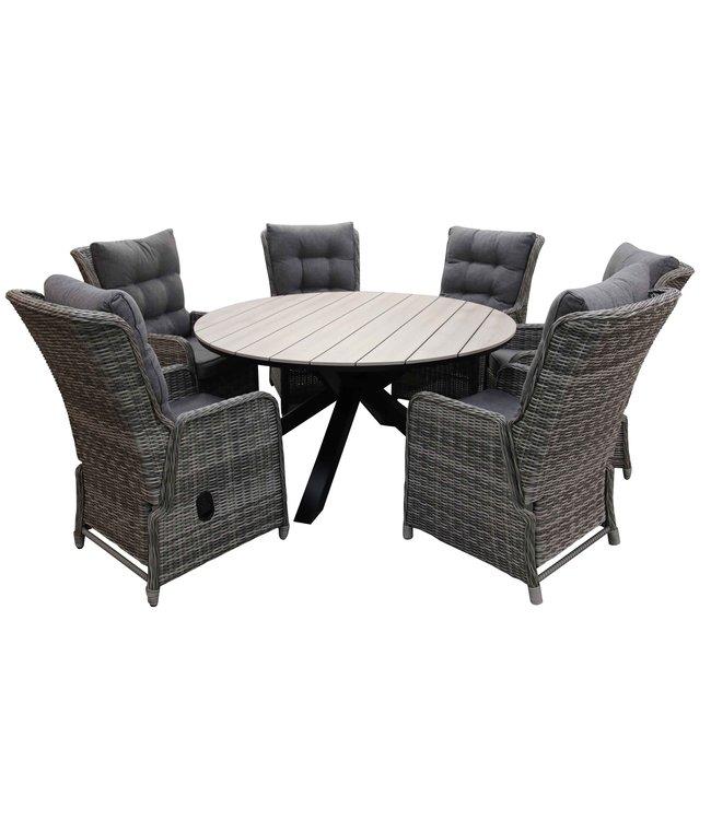 4 Seizoenen Tuinmeubelen 7-delige ronde tuinset | 6 Dublin verstelbare stoelen (AG) | ⌀150cm Cyprus tuintafel (Wood)