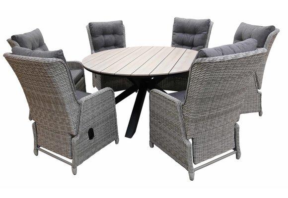 7-delige ronde tuinset   6 Dublin verstelbare stoelen (MG)   ⌀150cm Cyprus tuintafel (Wood)