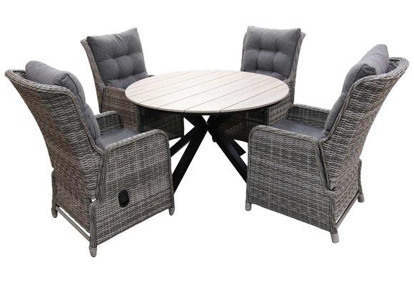5-delige ronde tuinset   4 Dublin verstelbare stoelen (AG)   ⌀120cm Cyprus tuintafel (Wood)