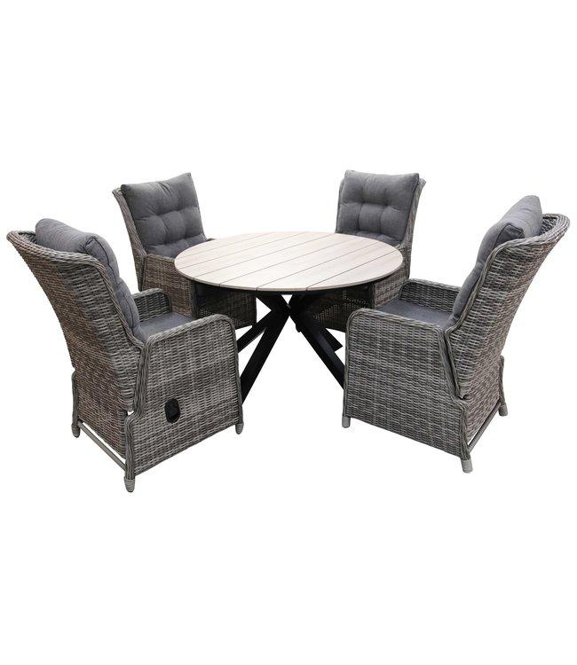 4 Seizoenen Tuinmeubelen 5-delige ronde tuinset | 4 Dublin verstelbare stoelen (AG) | ⌀120cm Cyprus tuintafel (Wood)