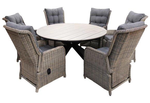 7-delige ronde tuinset | 6 Dublin verstelbare stoelen (SW) | ⌀150cm Cyprus tuintafel (Wood)